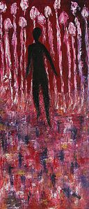 """Marianna Mills Walking Away 2013 the real title for this painting is """"Facing your Fears"""" The reason I had to give a title of 'walking away"""" is, because I didn't wanted to scare people. I didn't wanted people think of me I am depressed but every time I see this painting on my art studio wall, I still have that feeling in me when I created it. Sometimes in life you ca not walk away from bad things, you have to face it, you have to deal with it and I am still dealing with it up this day."""