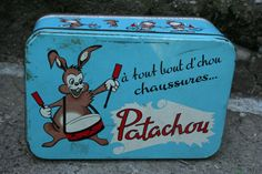 Blue Patachou Shoe Tin French Vintage 1950s by FromParisToProvence, €17.00