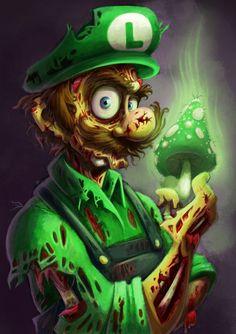 Zombie Mario Fan Art http://geekxgirls.com/article.php?ID=1478  #luigi #zombie #mario #supermario #supermariobros #supermariobrothers #nintendo #fanart #geekgirls #art #parody