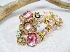 Pink Gold Bracelet  Pink Crystal Bracelet  Rhinestone by babbleon