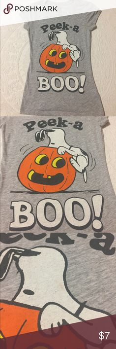 """Snoopy Peek a Boo Pumpkin Halloween Tshirt 🎃 Good condition. Preloved. Small light orange stain on Snoopy. See pic. Snug fit small. Measurements: chest 14.5"""" length 24.5"""" Peanuts Tops Tees - Short Sleeve"""