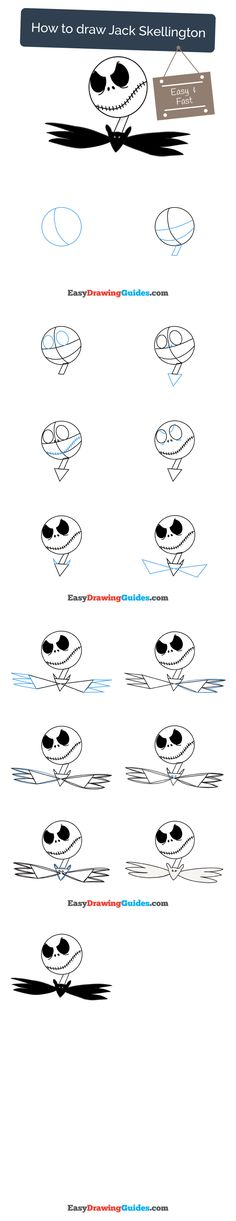 Learn How to Draw Jack Skellington: Easy Step-by-Step Drawing Tutorial for Kids and Beginners. #jackskellington #drawing. See the full tutorial at https://easydrawingguides.com/draw-jack-skellington/