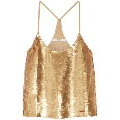 Tibi Éclair sequined silk-georgette camisole ($650) ❤ liked on Polyvore featuring tops, shirts, gold, brown shirt, crop shirt, camisole tops, brown crop top and shiny crop top