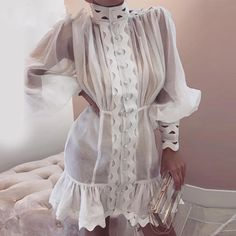 Lantern Sleeve High Neck Cutout Detail Dress Shop- Women's Best Online Shopping - Offering Huge Discounts on Dresses, Lingerie , Jumpsuits , Swimwear, Tops and More. Mini Vestidos, Casual Blazer, High Collar, Pattern Fashion, Sleeve Styles, Casual Dresses, Event Dresses, Skirt Set, Bodycon Dress