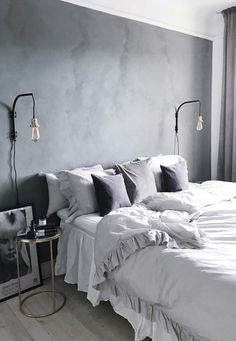 Home Decor Kitchen Black And Grey Bedroom, Black Bedroom Design, Gray Bedroom Walls, Grey Room, Home Room Design, Home Bedroom, Bedroom Decor, Gallery Wall Bedroom, Small Apartment Interior