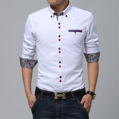Cheap brand shirt men, Buy Quality chemise homme directly from China chemise homme brand Suppliers: New 2016 Men's shirts men brand Dress slim designer Casual Chemise homme white/blue Fashion Social camisa masculina wholesale Cotton Shirts For Men, Casual Shirts For Men, Men Casual, Mens Printed Shirts, Smart Casual, Mens Designer Shirts, Designer Suits For Men, Indian Men Fashion, Men's Fashion