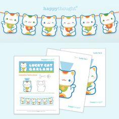 Super Cute Lucky Cat Printable Garland!