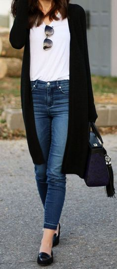 Casual Long Cardi & Loafers
