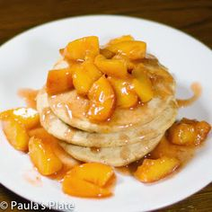 For my delicious locally grown peaches - Paula's Plate: Warm Peach Syrup over Fluffy Buttermilk Pancakes