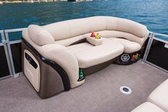 Wraparound port bow lounge w/extra-deep cushions, pillowtop backs, lumbar support, headrest, lockable underseat storage, lockable arm storage & floor-level drink holder http://www.exclusiveautomarine.com/product/party-barge-254-xp3