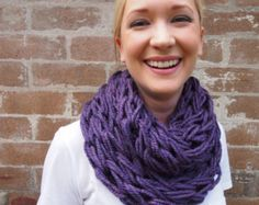 Arm knitted infinity scarf - purple