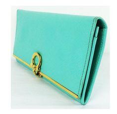 Salvatore Ferragamo Salvatore Ferragamo 4633 Icona Continental Wallet Turquoise leather