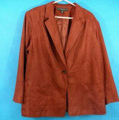 Rust Color Faux Suede Jacket 20W Pockets Lined One Button Fall Winter #JosephineChaus #BasicCoat