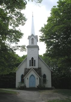 Haddam Neck Congregational Church, Connecticut, built 1874 in Gothic revival style.