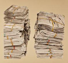"Matthew Troy Mullins ""Bundles"" graphite and watercolor 2010 Drawing Lessons, Art Lessons, Ap Studio Art, A Level Art, Hyperrealism, Art Sketchbook, Art Music, Graphic Illustration, Find Art"