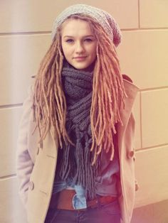 I want these dreads real bad. She's freaking adorable. This is what I think i would look like with dreads.