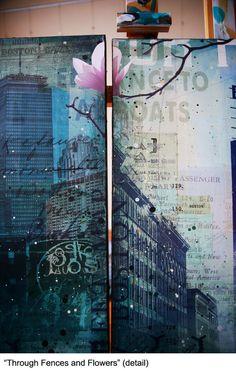 Through Fences and Flowers 90 x 36 original door maechevrette