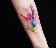 Very pretty watercolor tattoo style of Butterflies motive done by artist Versus Ink | Post 15527 | World Tattoo Gallery - Best place to Tattoo Arts