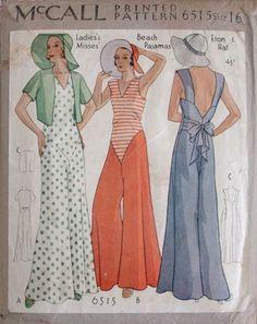 30s beach pajamas McCall vintage pattern 1930s fashion: