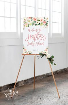 Baby Shower Welcome Sign Girl, Personalized Shower Welcome Sign, Customized Baby Shower Sign, Girl Baby Shower, Printable File - Baby Shower Ideas - Baby Baby Shower Niño, Baby Girl Shower Themes, Baby Shower Brunch, Girl Baby Shower Decorations, Baby Shower Signs, Floral Baby Shower, Bridal Shower, Welcome Baby Showers, Baby Shower Welcome Sign