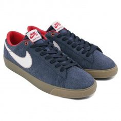 Nike SB Blazer Low Grant Taylor Shoes in Obsidian / White-University Red-Gum Light Brown - Pair