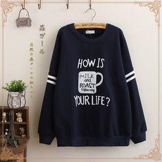 Japanese cute cup fleece sweatshirt