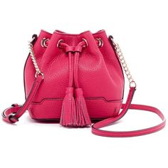 Rebecca Minkoff Micro Lexi Leather Bucket Bag ($99) ❤ liked on Polyvore featuring bags, handbags, shoulder bags, bright fuchsia, chain strap shoulder bag, leather purses, leather shoulder bag, leather handbags and mini shoulder bag