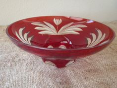 Red Art Glass bowl with etched Tulips/ by by FeistyFarmersWife, $25.00