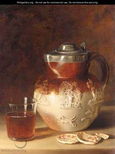 Still Life With Jug, Glass And Crackers - Continental School