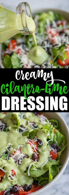 An easy, creamy Cilantro Lime Dressing recipe made with Greek yogurt! So good you'll want to eat it with a spoon. Guaranteed to brighten up any salad! via @culinaryhill