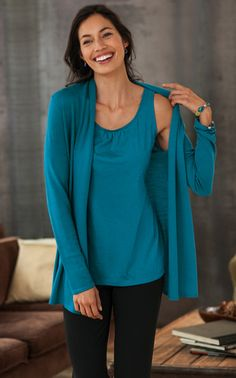 Gathered tank, washable merino cardigan, with ponte slim-leg pants.- try this in the topaz merino blend knit.
