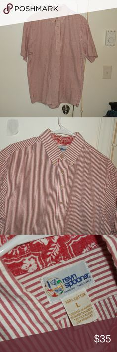 Vintage Reyn Spooner Hawaii Red Seersucker Shirt L This is a men's vintage shirt by Reyn Spooner  Hawaiian Traditionals in a size large 100% cotton seersucker fabric Short sleeve Pullover style with 4 button opening Button down collar Red and white stripes In excellent used condition Reyn Spooner Hawaii Shirts Casual Button Down Shirts