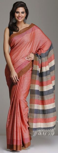 Peach Hand-Woven Tussar Silk Saree With Brown Border And Multicolored Striped Pallu Sari Draping Styles, Saree Styles, Ethnic Sarees, Indian Sarees, Indian Attire, Indian Ethnic Wear, Indian Dresses, Indian Outfits, Beautiful Saree