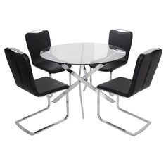 Round Glass Top Dining Table Set With 4 Black Chairs  Preview