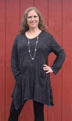 570a628bd5d Jess n Jane Mineral Wash Pocket Shark Bite Tunicc in Black. Jess and Jane&  mineral wash slub knit fabric is amazing to wear! This cute style is a  simple ...