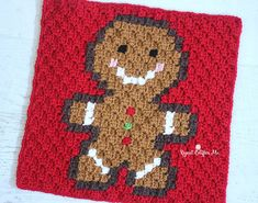 Ginger Bread Pixel Square free crochet pattern - Free Crochet Gingerbread Man Patterns - The Lavender Chair
