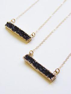 Black Druzy Bar Necklace  Gold Rectangular by friedasophie on Etsy