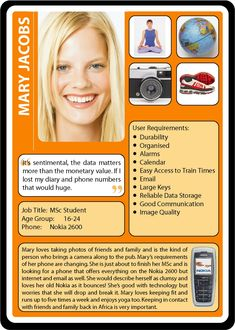 Persona Example - Mary Jacobs mobile phone persona