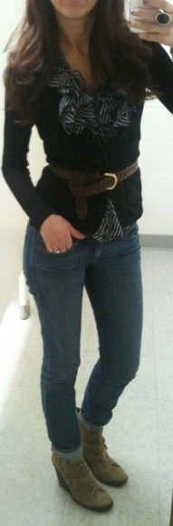 brown ankle boots + skinny jeans + striped top + navy cardigan + brown belt