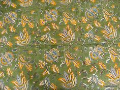 Floral Block Print Indian Cotton Fabric in Green by theDelhiStore, $12.00