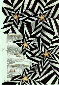 Found poetry and zen tangles! Tangle Doodle, Doodles Zentangles, Doodle Art, Star Doodle, Zen Doodle, Doodle Patterns, Zentangle Patterns, White Patterns, Op Art