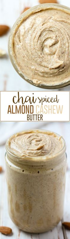 This Chai Spiced Almond Cashew Butter is a creamy blend of lightly toasted almonds and cashews, mixed with several spices giving this nut butter an authentic chai-like flavor. All you need is 25 minutes and a good food processor! Flavored Butter, Cashew Butter, Butter Recipe, Homemade Butter, Spiced Almonds, Toasted Almonds, Good Food, Yummy Food, Food Gifts