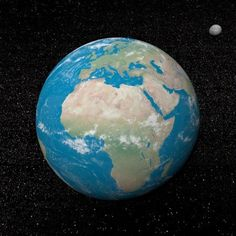Planet Earth and moon surrounded with stars Canvas Art - Elena DuvernayStocktrek Images (29 x 29)