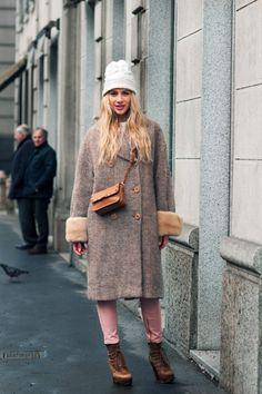 #CliziaIncorvaia (designer of Girls Speak) in Milan. #MFW   Dolce and Gabbana coat