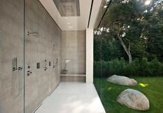 Shower and glass wall in the most minimalist house