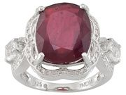 Mahaleo Ruby 4.50ct Cushion With .70ctw Round White Topaz Sterling Silver Ring. #july #ruby #birthstone