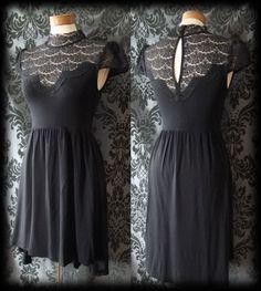 Goth Black Lace Bib LIBERTINE High Neck Tea Skater Dress 10 12 Victorian Vintage - £36.00
