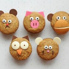 Animal Breakfast Muffins for kids! These apple-cinnamon muffins are a healthy and delicious breakfast for the kids.