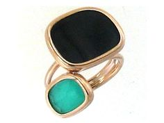 Check out this absolutely amazing Roberto Coin 18K Rose Gold Ring with Black Jade and Green Agate!!