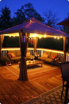 Check out our new gazebo deck and outdoor furniture at Thrifty Decor Chick! Check out our new gazebo deck and outdoor furniture at Thrifty Decor Chick! Click The Link For See Casa Patio, Backyard Patio, Backyard Ideas, Pergola Ideas, Deck Gazebo, Patio Ideas, Pergola Kits, Gazebo Canopy, Diy Pergola